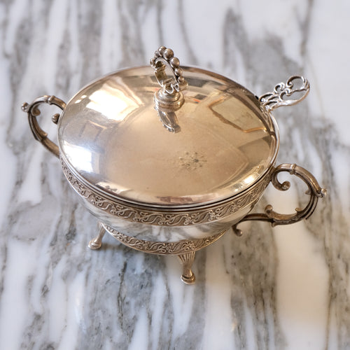 Sterling Silver Sugar Bowl with Lid and Spoon - La Porte Bonheur
