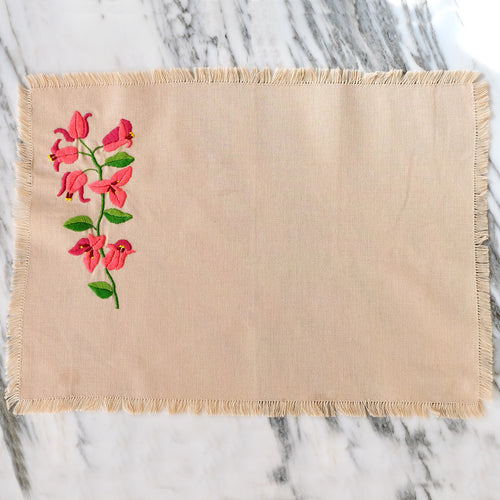 Tan Placemats with Hand-Embroidered Flowers - La Porte Bonheur