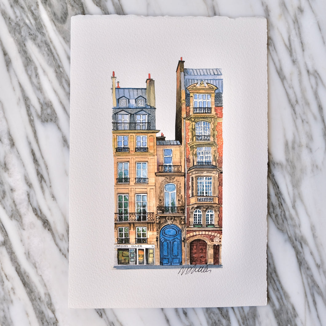 Watercolor Quai Voltaire Apartments by Nikolla Dhales - La Porte Bonheur