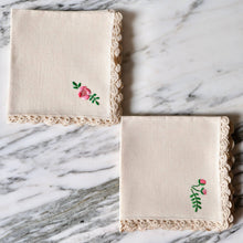 Load image into Gallery viewer, Natural Linen Cocktail Napkins with Hand-Embroidered Pink Flowers - La Porte Bonheur