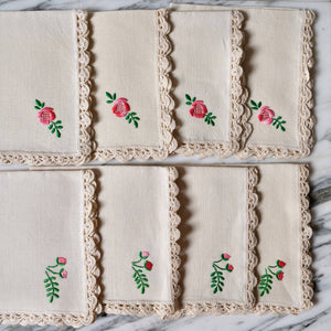Natural Linen Cocktail Napkins with Hand-Embroidered Pink Flowers - La Porte Bonheur