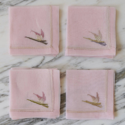 Pink Embroidered Bird Organza Napkins & Tablecloth - La Porte Bonheur