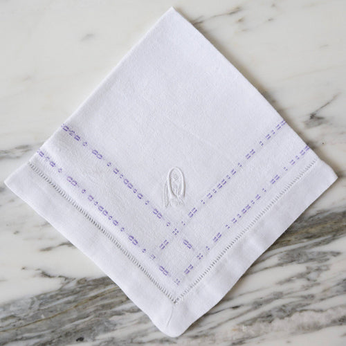 White and Purple Linen Napkins with 'OG' Monogram - La Porte Bonheur