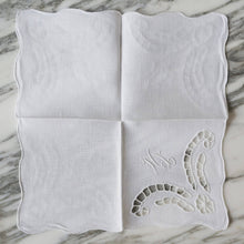 Load image into Gallery viewer, White Linen Cutout Cocktail Napkins with HL Monogram - La Porte Bonheur