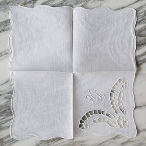 White Linen Cutout Cocktail Napkins with HL Monogram - La Porte Bonheur