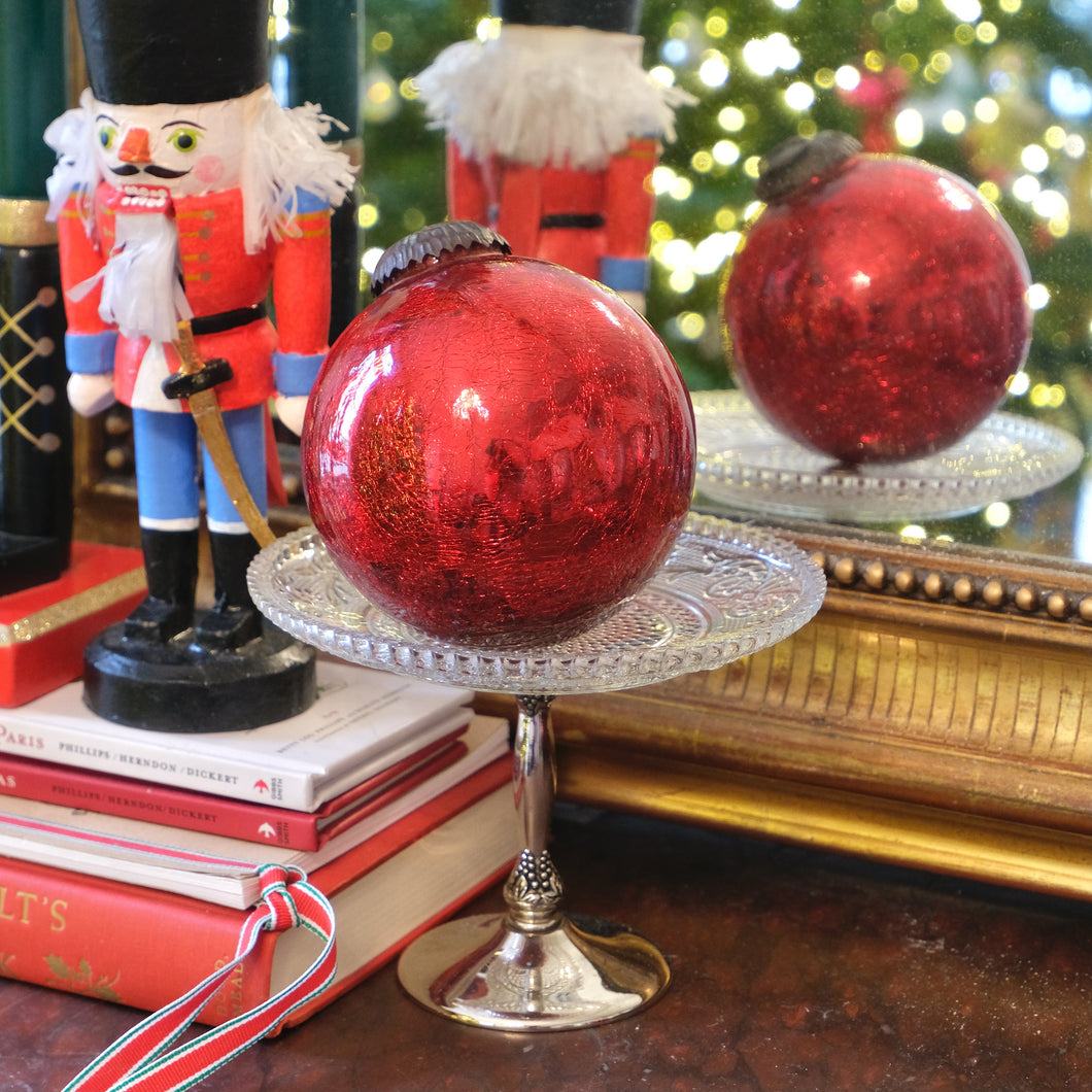 Red Ball Mercury Glass Ornament (Large) - La Porte Bonheur