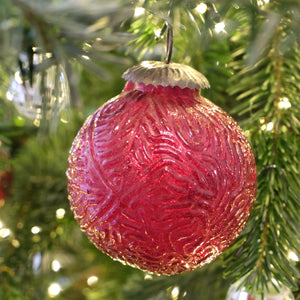 Red Etched Glass Ball Ornament (Large) - La Porte Bonheur