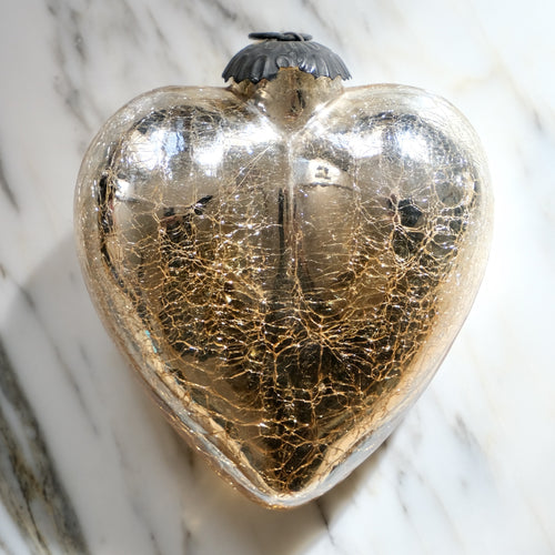Silver Heart Mercury Glass Ornament (Large) - La Porte Bonheur