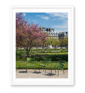 Three Green Chairs in the Tuileries - Paris Photography - La Porte Bonheur