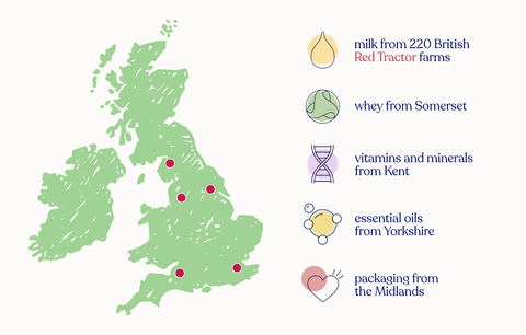 Kendamil UK map of where our milk is made.