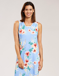 Nightdress with Hibiscus Flower Print