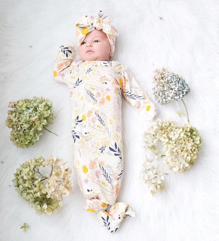 Cream Knotted Floral Baby Gown