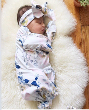 Blue Floral Knotted Newborn Gown and Bow