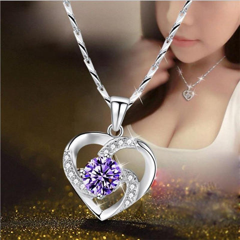 Pleasing 925 Silver Purple AAA Cubic Zirconia Crystal Necklace