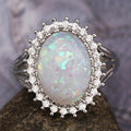 Fascinating Silver 925 Jewelry Ring Oval Shape Opal Zircon Gemstone Ring - Factory Direct Prices by Jewellery Supermarket