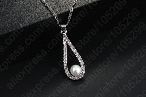 Captivating Sterling Silver Crystal Water Drop Pearl Necklace Earring Set - Best Online Prices by Jewellery Supermarket