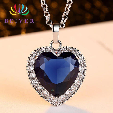 Appealing Blue AAA CZ Heart Of The Ocean Necklace For Women- Wholesale Prices by Jewellery Supermarket - The Jewellery Supermarket