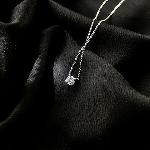 Attractive 925 Sterling Silver Zircon Necklace - Best Online Prices by Jewellery Supermarket - The Jewellery Supermarket