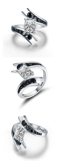 Beautiful 3.9 Gram 925 Sterling Silver Zircon Black Stone Engagement Ring - Best Online Prices by Jewellery Supermarket