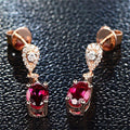 Luxury Sterling Silver 925  Ruby Gemstone Wedding Engagement Drop Earrings