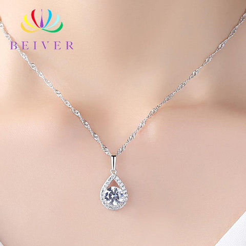 Exquisite AAA+ Cubic Zirconia Diamonds Water Drop Necklace