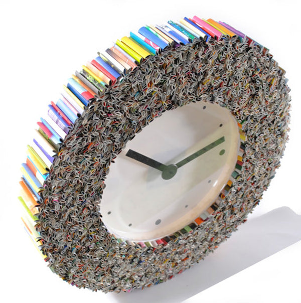 Unique creative wall clocks Recycled magazines