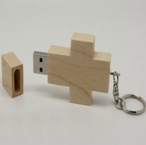 Wood Cross USB Flash Drive