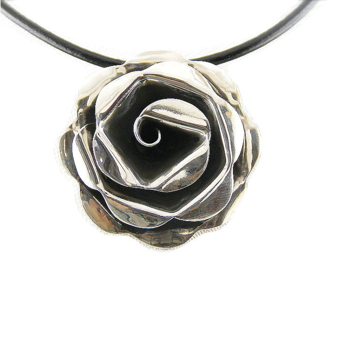 Handcrafted Rose Silver Pendant | Wholesale Flower Charms Valentines - 1PROY Driftwood & Healing Stones