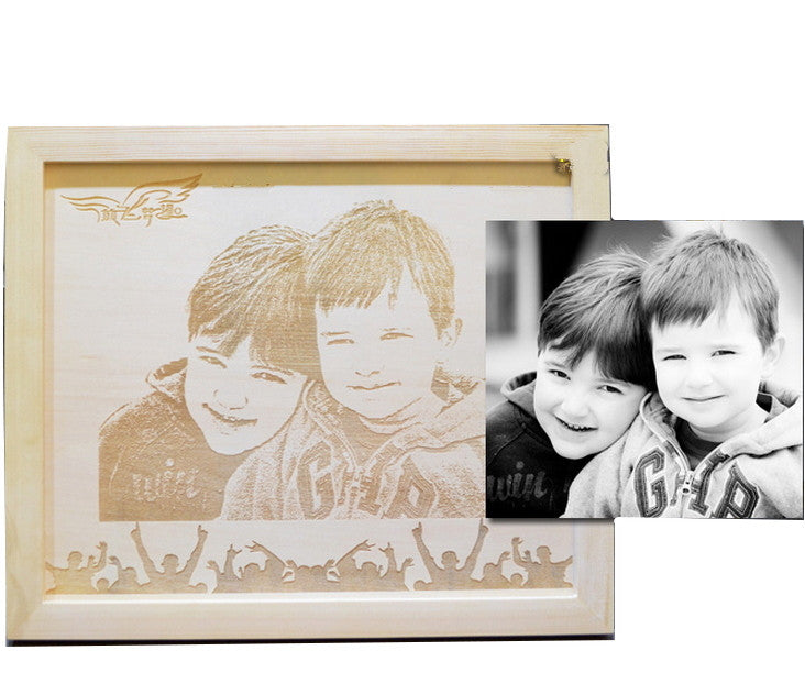 "Custom Woodcut Portrait Family | Pet Portraits 8"" 10"" - 1PROY Driftwood & Healing Stones"