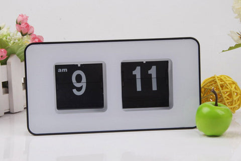 "Flip Clock Retro Style | Classic Minimalist Black and White 7"" - 1PROY Driftwood & Healing Stones"
