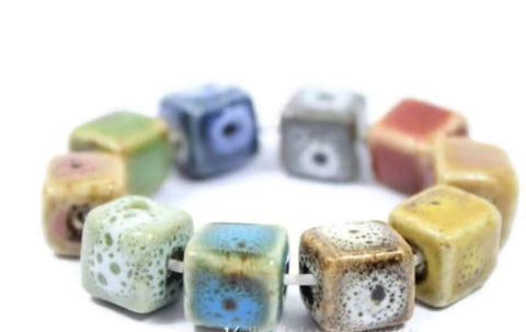 10pcs Ceramics Beads Lot | Solid Mix Glazed Ceramics 10mm Wholesale Beadworks