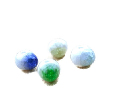 12pcs Ceramic Beads Beadworks | Unique Solid Crack Glazed Beadworks
