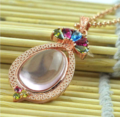 Rose Gold Quartz Pendant Cabochon | Wholesale Healing Crystal Charms