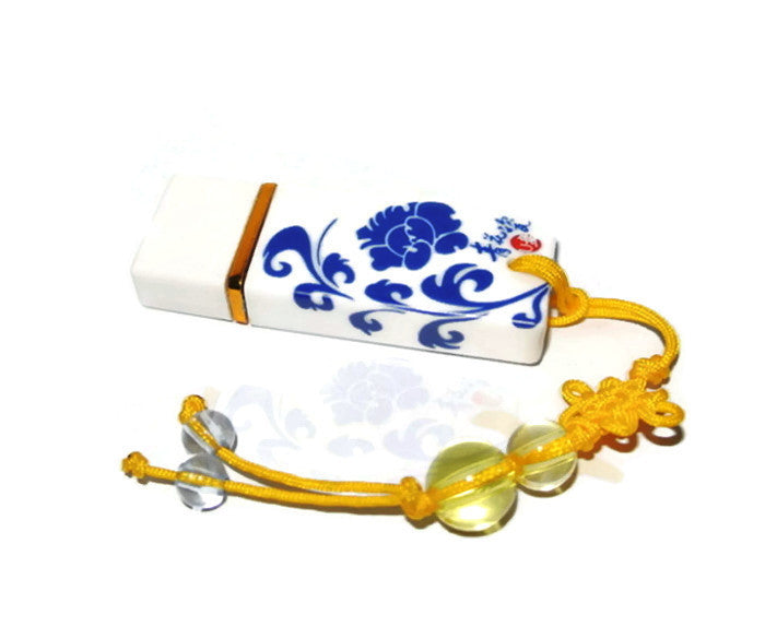 Chinese Painted Porcelain USB | Unique Flash Drives 8GB 16GB 32GB - 1PROY Driftwood & Healing Stones