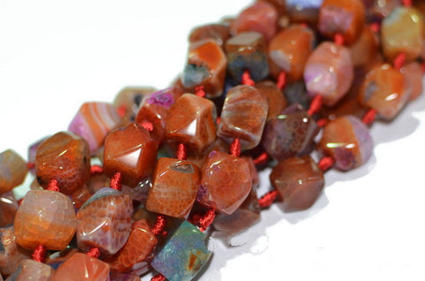 Agate Bead Strand Lot/ Faceted Brown Laces | Healing Stones