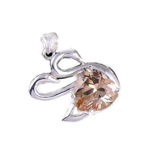 Silver Pendant Heart Zircon Swan | Wholesale Charms Jewelry DIY - 1PROY Driftwood & Healing Stones