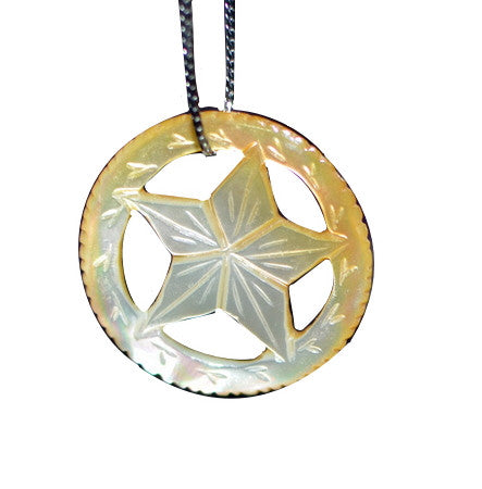 Shell Pendant Star Beige Black | Handmade Mother of Pearl Jewelry DIY - 1PROY Driftwood & Healing Stones