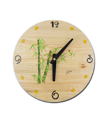 "12"" Decorative Wood Wall Clock Bamboo Chinese Painting - 1PROY Driftwood & Healing Stones"
