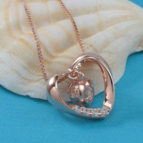 Rose Gold Pendant Titanium Heart | Wholesale Charms Valentines - 1PROY Driftwood & Healing Stones