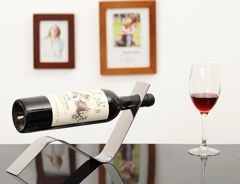 Creative Steel Single Wine Bottle Holder | Stand Rack - 1PROY Driftwood & Healing Stones