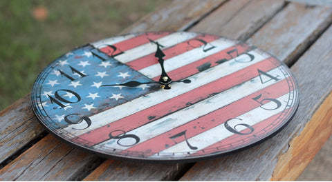 "12"" Rustic Wood American National Flag Wall Clock 