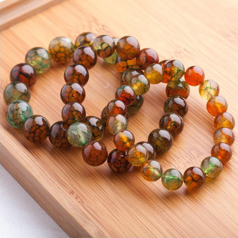 Dragon Vein Agate Bead Bangle Bracelet 6-14mm | Healing Stone Jewelry - 1PROY Driftwood & Healing Stones