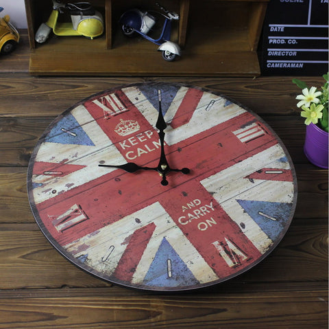 "Primitive Wood Decorative Wall Clock 12"" British Flag 