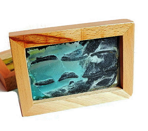 "Abstract Moving Sand Picture 5"" in Wood Frame - 1PROY Driftwood & Healing Stones"