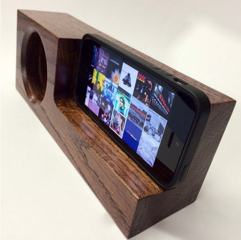 Walnut iPhone Acoustic Amplifier Docking Station - 1PROY Driftwood & Healing Stones