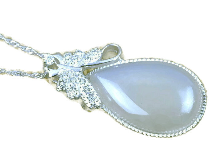 Large Chalcedony Cabochon Pendant | Silver | Healing Stones Supplies - 1PROY Driftwood & Healing Stones