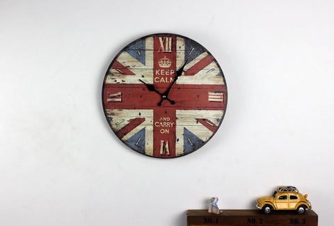 "Handmade Primitive Wood Decorative Wall Clock 12"" British Flag 