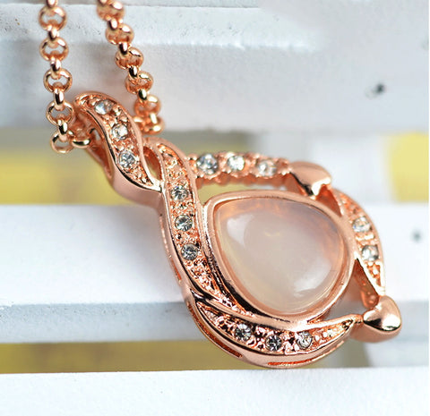 Rose Gold chalcedony Cabochon Pendant | Wholesale Gemstone Charms - 1PROY Driftwood & Healing Stones