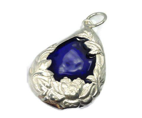 Silver & Enamel Drop Pendant Embossed Flower Wholesale Charms