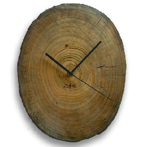 Rustic camphor wood log wall clock | Minimalist Primitive home decor gifts - 1PROY Driftwood & Healing Stones